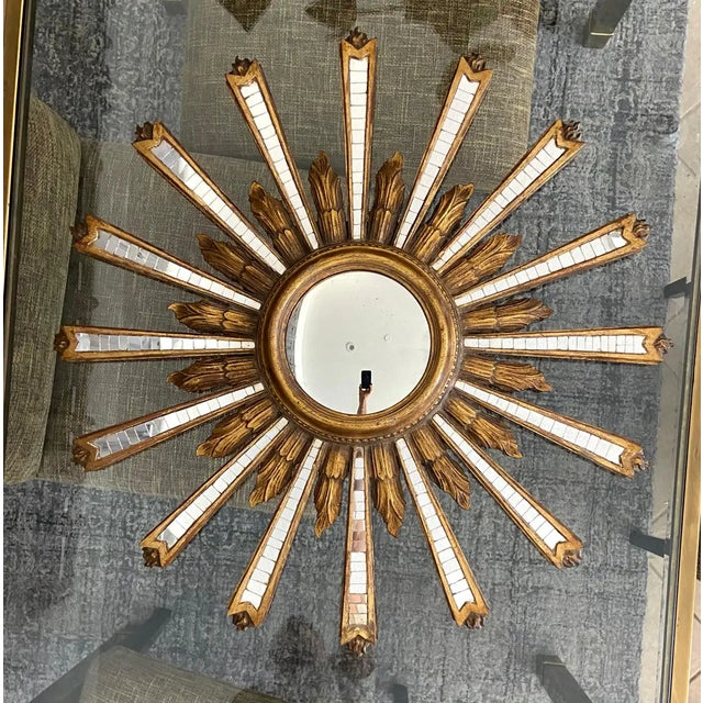 Gold 1950s Large Italian Convex Sunburst Giltwood Wall Mirror For Sale - Image 8 of 12