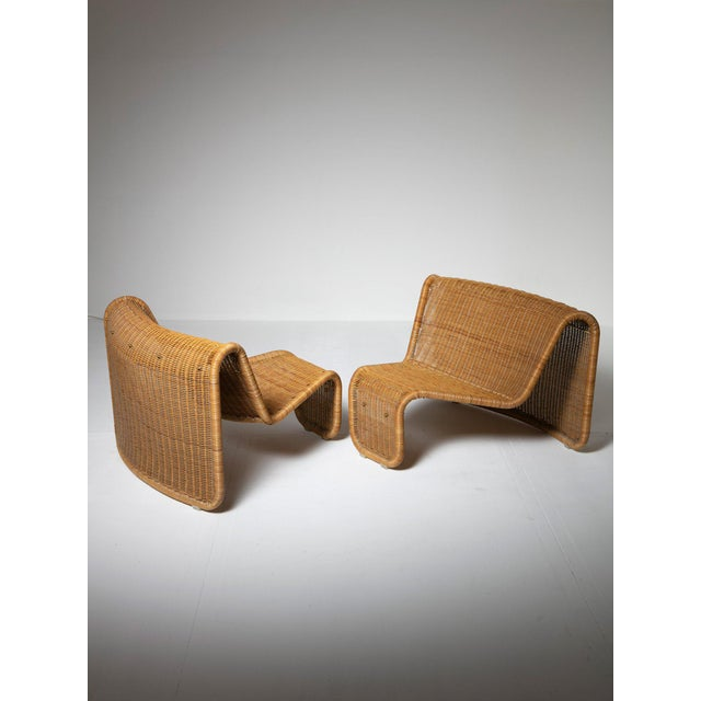 1960s Large Wicker Set by Tito Agnoli for Bonacina For Sale - Image 5 of 10