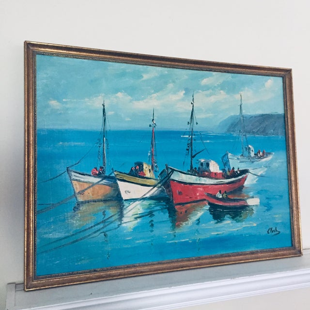 Vintage Mid Century Modern Boats in a Harbor Signed Framed Oil on canvas 3 ships in the harbor against a tranquil blue...