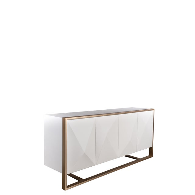 Contemporary Cleo Spike Wood Cabinet in White For Sale - Image 3 of 8