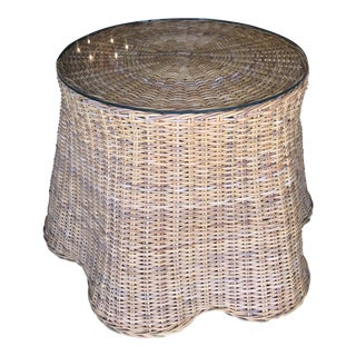 Trompe L'Oeil Rattan Wicker Draped Table Pedestal For Sale