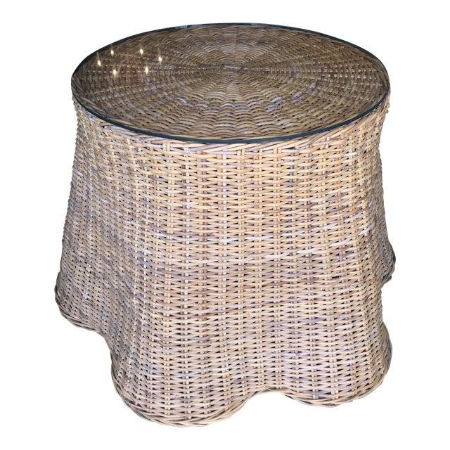 Trompe L'Oeil Rattan Wicker Draped Table Pedestal For Sale