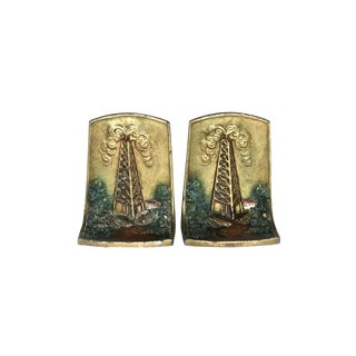 1920s Oil Derricks Bookends Kronheimer Oldenbusch - a Pair For Sale
