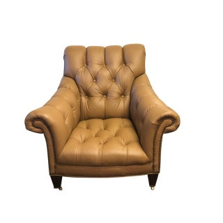 Modern Century Furniture Brown Leather Chair For Sale