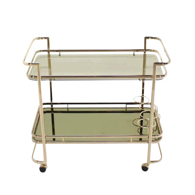 Smoked Glass Gold or Brass Finish Tea or Bar Italian Cart For Sale