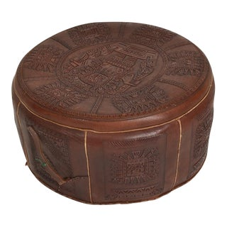 Vintage Central American Mayan Motif Leather Low Stool / Suitcase For Sale