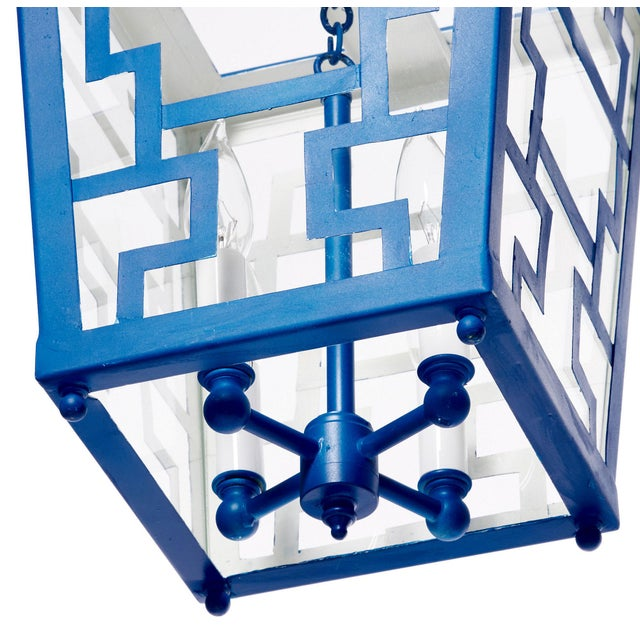 Blue Hand Painted Chinese Fretwork Pendant Chandelier in Royal Blue For Sale - Image 8 of 9
