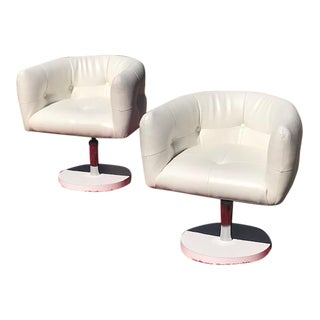Vintage Mid-Century Tufted Swivel Pedestal Accent Chairs- A Pair For Sale
