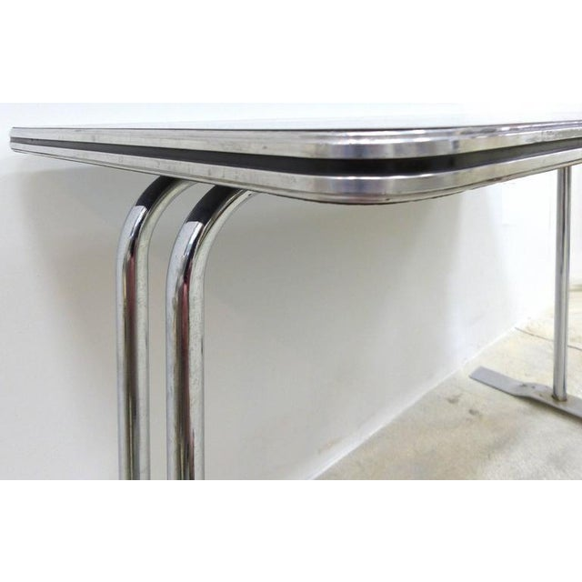 1930s Art Deco Streamline Chrome Writing Table or Console Table For Sale - Image 5 of 7