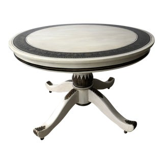 Greco-Roman Hand-Painted Whitewashed Oak Extendable Round/Oval Dining Table For Sale