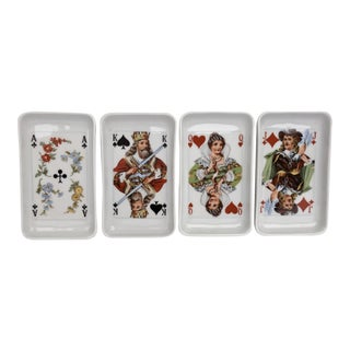 French Porcelain Playing Card Dishes - Set of 4 For Sale