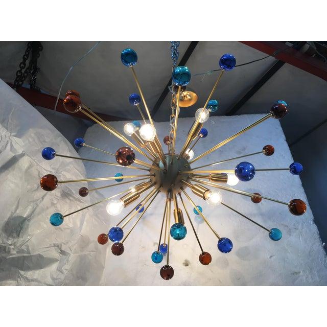 "Chandelier murano glass triedo sputnik multicolors Metal frame in color brushled brass Diameter 80 cm = 31.5"" Height 60 cm..."