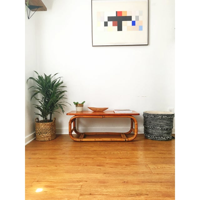 Vintage Koa Wood & Rattan Coffee Table For Sale - Image 11 of 11