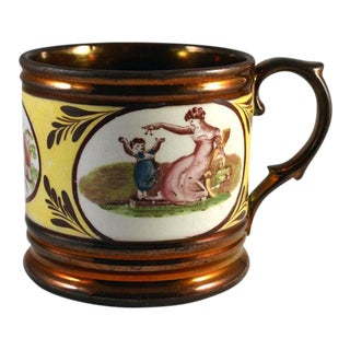 English Pottery Copper Lustre & Yellow Mug with Panels of Adam Buck Figures