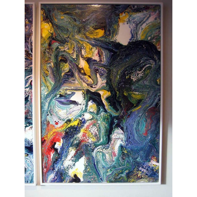 Abstract A Pair of Abstract Compositions by California Artist Richard Mann For Sale - Image 3 of 7