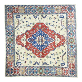 Hand-Knotted Tribal Design Square Kazak Wool Rug- 9′10″ × 9′10″ For Sale