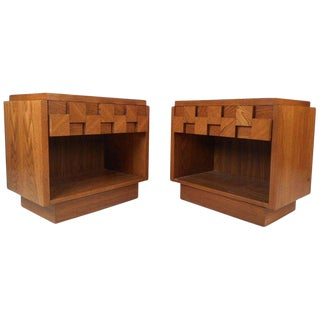 Mid-Century Modern Brutalist Nightstands - A Pair For Sale