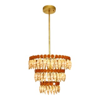 Transitional Currey & Co. La Met Mitra Shells and Brass Chandelier For Sale