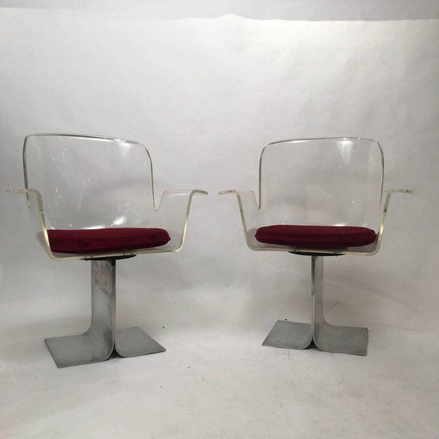 Pair of Pace Lucite & Aluminum Dining or Conference Swivel Chairs by i.m. Rosen For Sale - Image 13 of 13