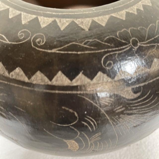 Black Maitland-Smith Tribal Etched Stone Vase For Sale - Image 8 of 9