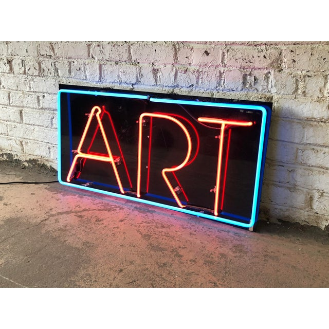 """Red Vintage Custom Neon """"Art"""" Sign For Sale - Image 8 of 8"""