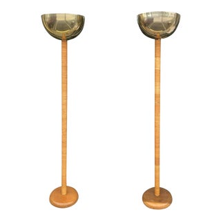 Vintage Bamboo Rattan & Brass Table Floor Lamps - A Pair For Sale