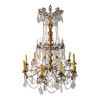 Antique Bronze Crystal & Wood Chandelier For Sale