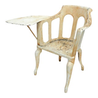 Exceptional Early 20th Century Cast Iron Chair with Paddle Arm For Sale