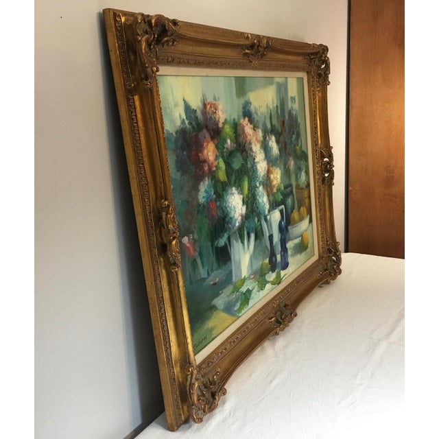 Vintage Still Life With Flowers Oil Painting by Manuel Cuberos For Sale - Image 9 of 12