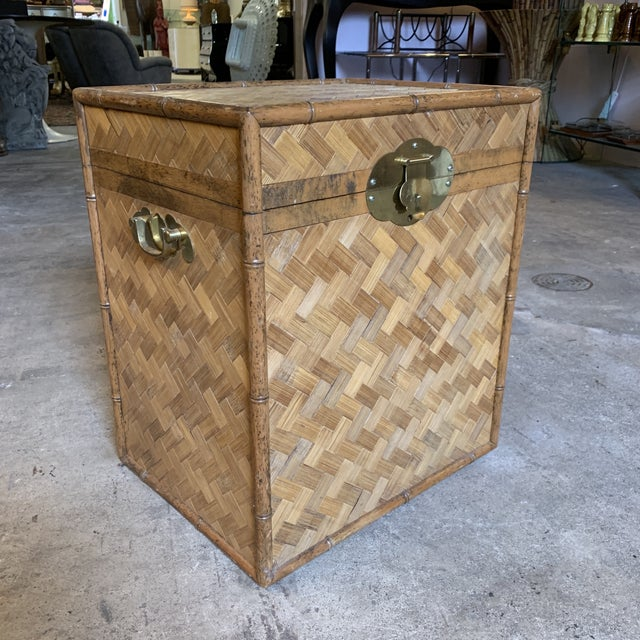 Vintage Rattan Chest Drink Table For Sale - Image 11 of 11