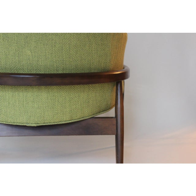 Mid-Century Modern Chartreuse Upholstered Walnut Side Chair For Sale - Image 4 of 7