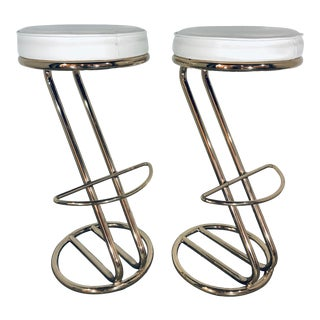 Mid Century Modern White Leather and Brass Bar Stools- A Pair For Sale