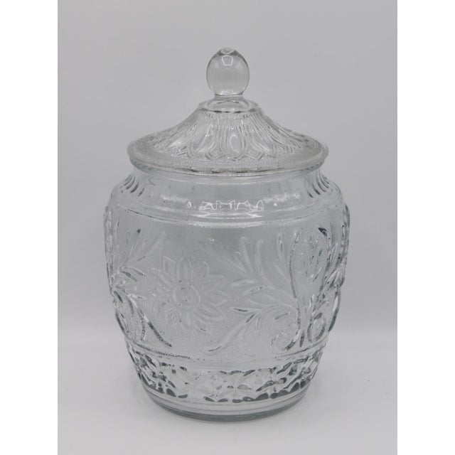 """Mid-Century Lidded Crystal Cut Glass Canister Jar, circa 1950. This is an exquisite clear """"sandwich glass"""" jar that has a..."""