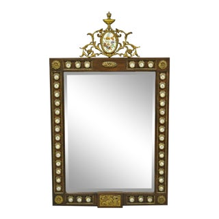 Vintage French Louis XV Style Console Wall Mirror With Porcelain Plaques For Sale
