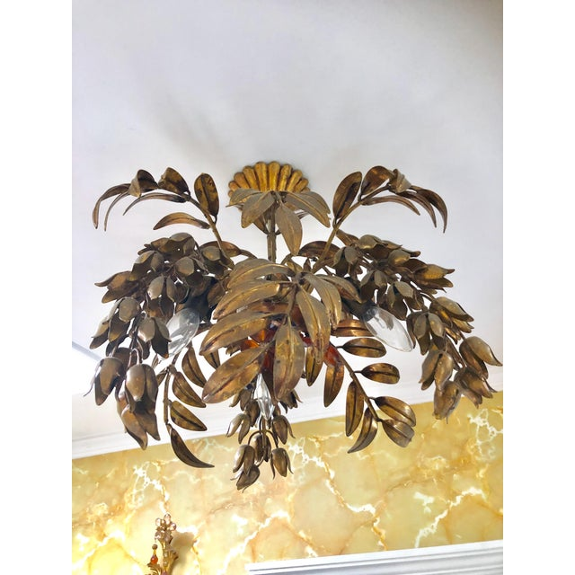 Maison Bagues Style 3 Light Flush Mount Gilded Wrought Iron and Crystal Chandelier For Sale - Image 10 of 10