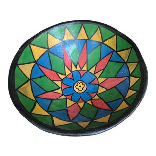 Painted Large Wooden Bowl For Sale