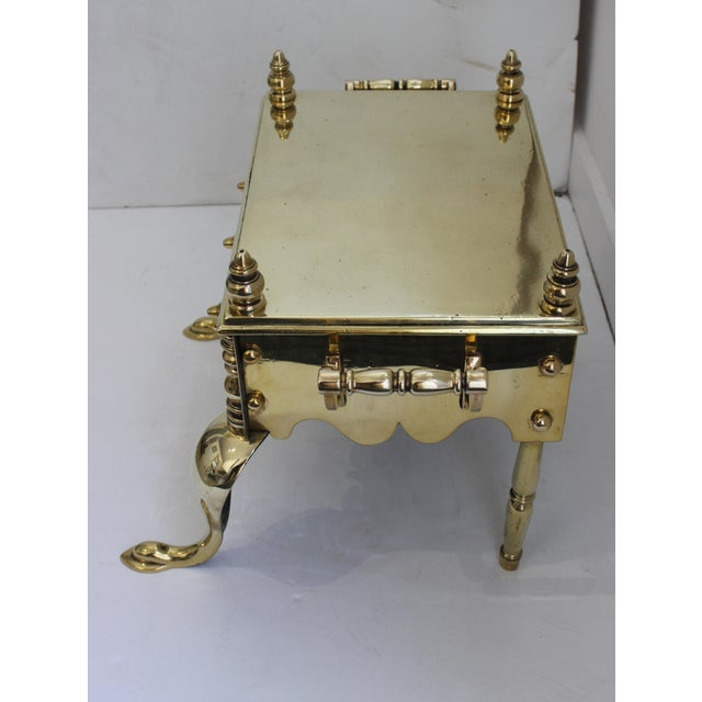 English 19c Fireplace Accesories - Brass Tea Kettle Heater With Its Log Tool For Sale - Image 3 of 13