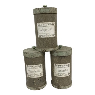 Italian Herb Canisters, Set 3 For Sale