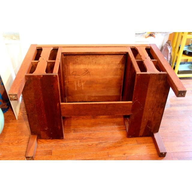 1920s Antique Stickley Desk Table Bookshelves Mission Oak Writing Desk For Sale - Image 11 of 13