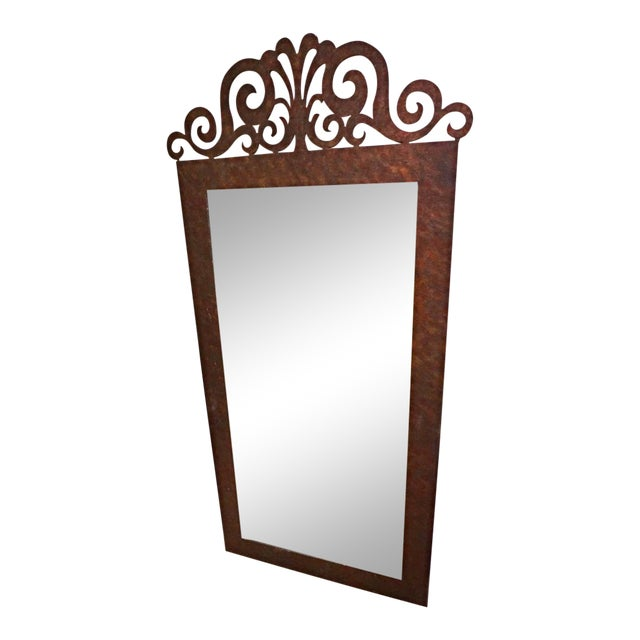 Mid Century Modern Art Deco Metal Iron Frame Wall Mirror | Chairish