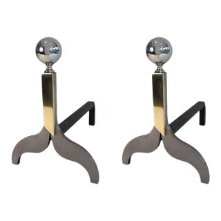 Pair of Modernist Brushed Steel, Chrome and Brass Fire Andirons