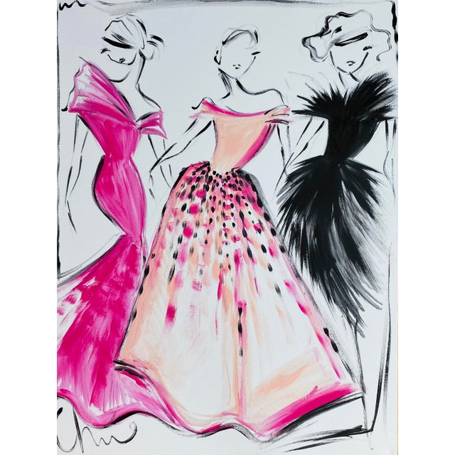 """Black, Fuchsia and Peach Party Dress Trio"" Original Christian Siriano Painting For Sale"