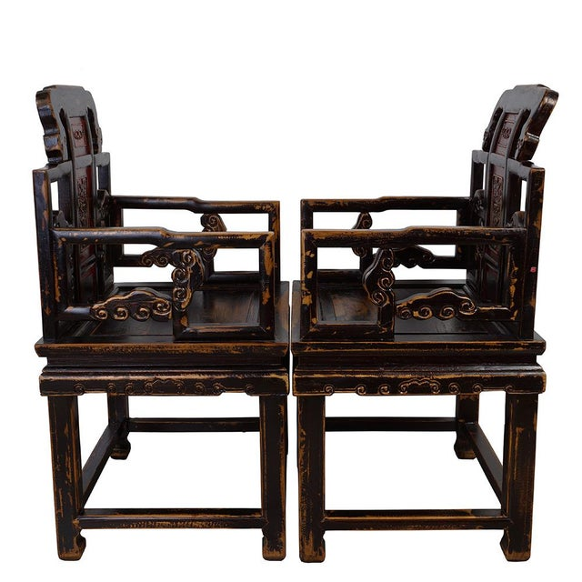 Antique Chinese Carved Official Arm Chairs & Tea Table - Set of 3 For Sale - Image 11 of 13
