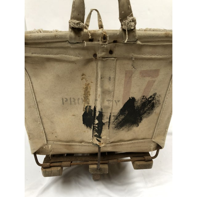 Gray Vintage Industrial Canvas Laundry/Postal Cart For Sale - Image 8 of 11