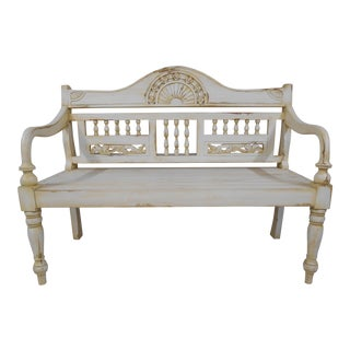 Late 20th Century Painted and Distressed French Country Garden Bench For Sale