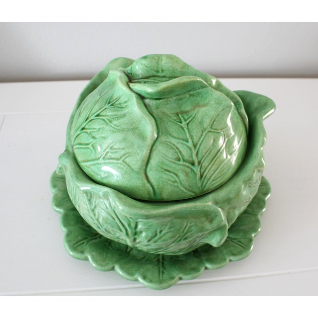 Vintage Majolica Style Cabbage Tureen Covered Bowl with Saucer Set For Sale - Image 4 of 9