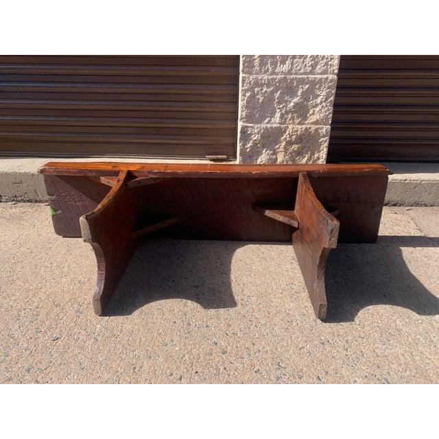 1920s Vintage Primitive Brown Pine Bench For Sale - Image 11 of 13