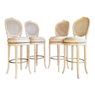 Faux Bois + Cane Regency Swivel Stools, Set of 4 For Sale