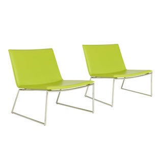 CB2 Triumph Green Lounge Chairs - A Pair For Sale
