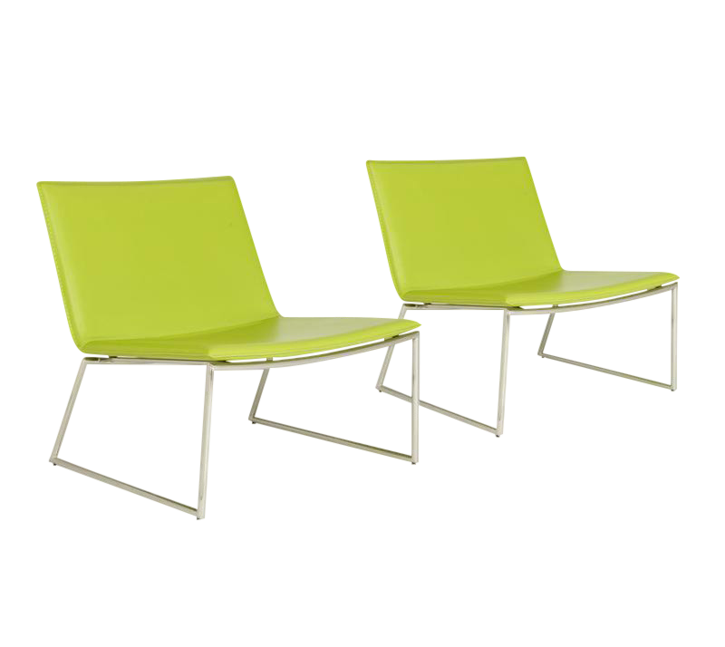 CB2 Triumph Green Lounge Chairs   A Pair